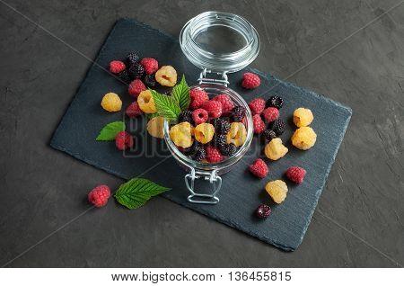 Yellow, Red And Black Raspberries