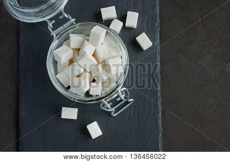 White Cubes Sugar In A Glass Jar