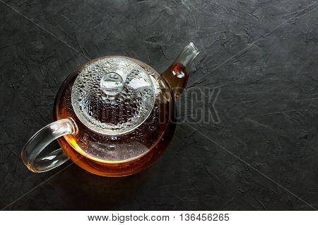 Glass Teapot With Hot Tea