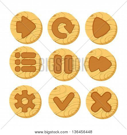 Set of cartoon wooden vector buttons for game UI. Web icons, isolated vector elements
