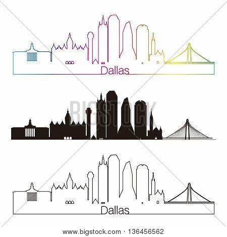 Dallas skyline linear style with rainbow in editable vector file