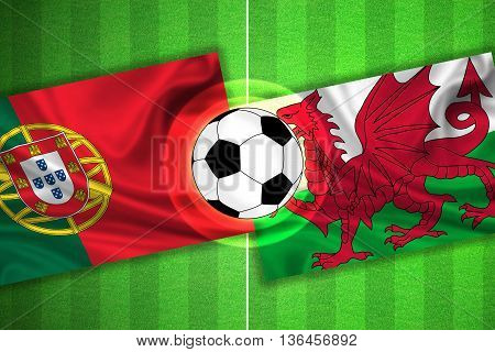 green Soccer / Football field with stripes and flags of portugal - wales and ball - 3d illustration