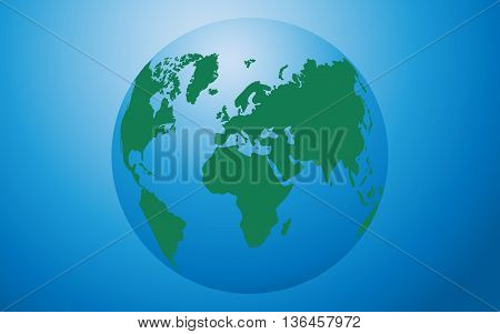 Globe icon vector green map of the continents of the world