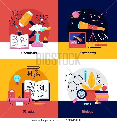 Science square banners about chemistry biology physics astronomy vector illustration