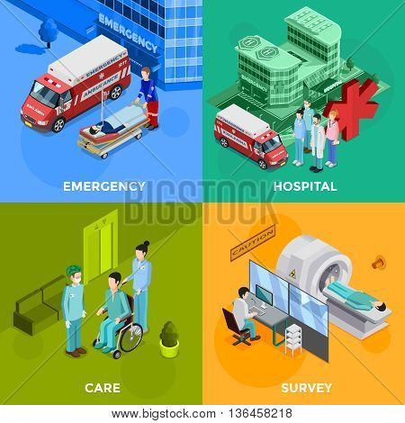 Hospital 2x2 design concept set of emergency help equipment for survey and medical healthcare staff decorative icons flat vector illustration