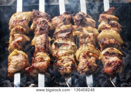 Barbecue Skewers With Grilled Pork Meat On The Brazier