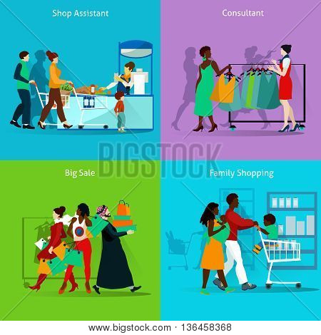 Shopping People Concept. Shopping Vector Illustration.Shopping Flat Icons Set. Shopping and Prople Design Set. Shopping Isolated Elements.
