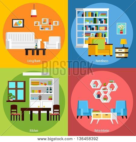 Interior of different rooms presenting living room homeliness kitchen and retro interior orthogonal 2x2 compositions vector illustration