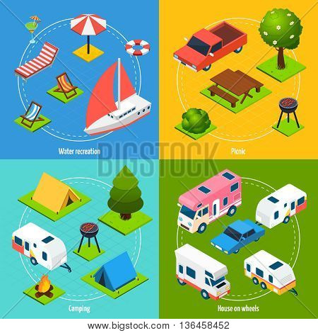 Colorful camping and travel isometric 2x2 icons set with house on wheels elements for water recreation and picnic isolated vector illustration