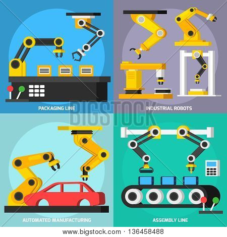 Automation conveyor manufacturing robotic arms in process orthogonal 2x2 flat icons set with assembly and packaging lines isolated vector illustration