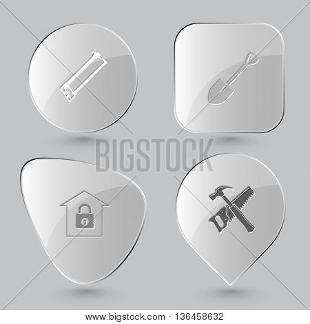4 images: hacksaw, spade, bank, hand saw and hammer. Industrial tools set. Glass buttons on gray background. Vector icons.