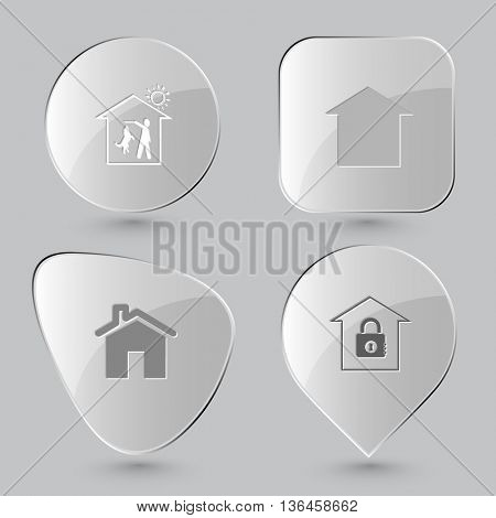 4 images: home dog, bank, frames. Home set. Glass buttons on gray background. Vector icons.
