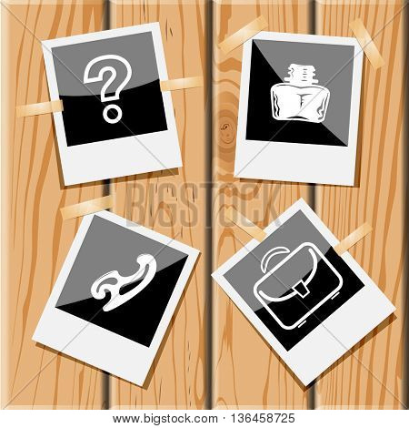 4 images: query sign, inkstand, french curve, briefcase. Education set. Photo frames on wooden desk. Vector icons.
