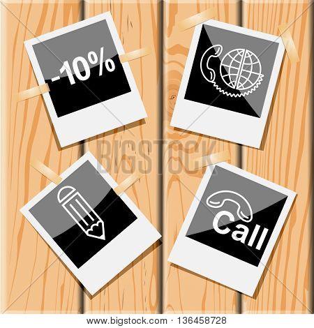 4 images: -10%, global communication, hotline, pencil. Business set. Photo frames on wooden desk. Vector icons.