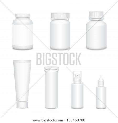 Medicine blank white bottles set for sprays and pills realistic isolated vector illustration