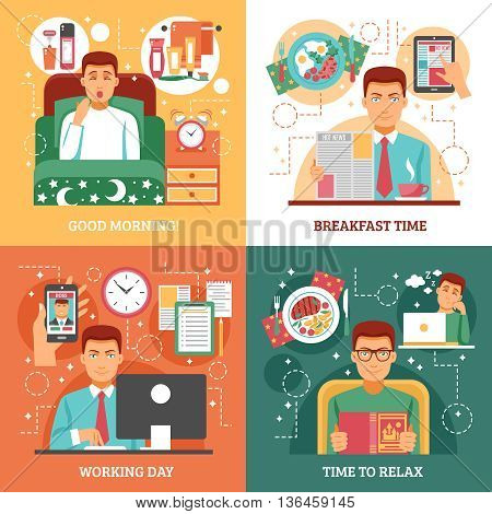 Man daily routine design concept four icon set that describe how a person spends his day vector illustration