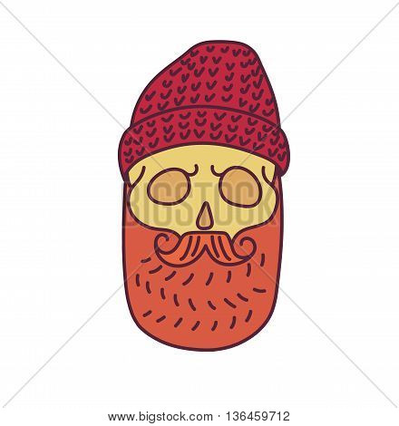 Skull with Hipster mustache, cap and beards.Color Fashion vector illustration.White background.isolated on white background