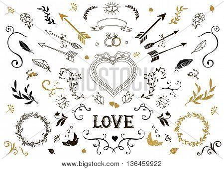 Hand drawn vintage decorative elements with lettering. Romantic floral design wedding set.
