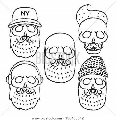 Skulls with Hipster hair and beards.Line skull.Fashion vector illustration set.Retro vector design graphic element, badge, logotype, poster, emblem, logo, insignia, sign and identity