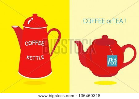 COFFEE OR TEA red coffee kettle and red tea pot displayed on the yellow background.