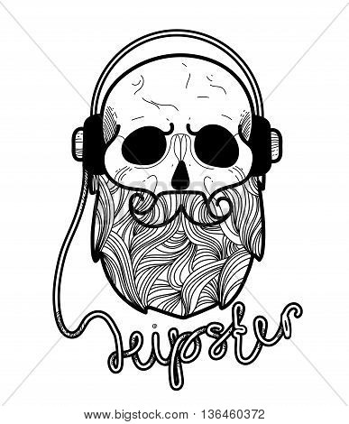 Skull hipster Hand Drawn with headphones.Skull with Hipster hair and beards, fashion vector illustration.Retro vector design graphic element, badge, emblem, logo, logotype..isolated on white background