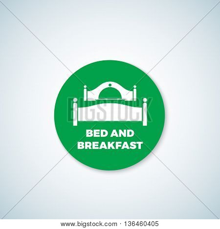 Bed and Breakfast Vector Sticker. Dish Cover Negative Space Symbol Incorporated in Sleep Icon. Isolated.