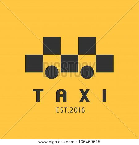Taxi cab vector logo icon. Car hire black and yellow background badge app emblem. Taxicab transportation design