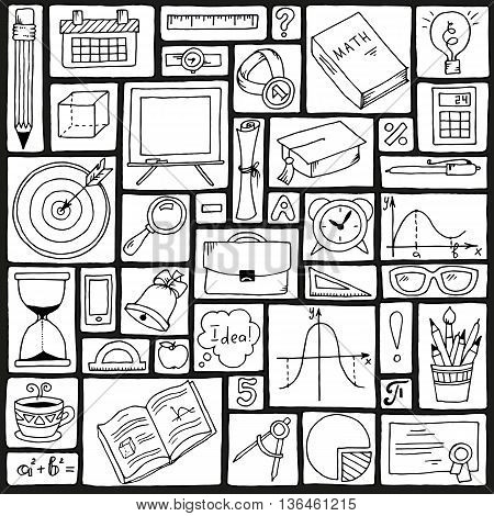 Mathematics science theme. Seamless hand drawn pattern about school and learning. Teachers day background.