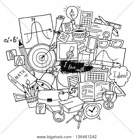 Mathematics science theme. Hand drawn pattern about school and learning in doodle style. Teachers day background. Pattern created from sketch by trace.