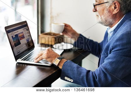 Old Businessman Home Office Concept