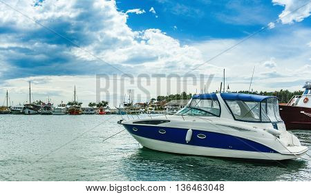 Power Boat Parked On The Sea