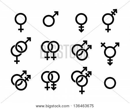 Set of genders symbols, black on white background