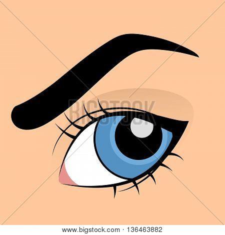 Human blue eye in cartoon style with eyelashes