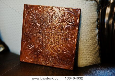 Brown Leather Wedding Cd Or Flash Box, Cover With Stamping