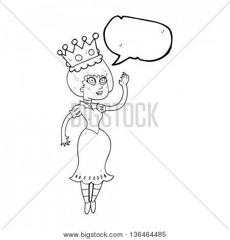 freehand drawn speech bubble cartoon vampire queen waving