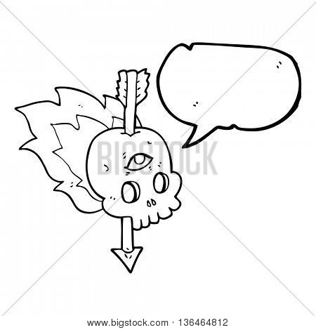 freehand drawn speech bubble cartoon magic skull with arrow through brain