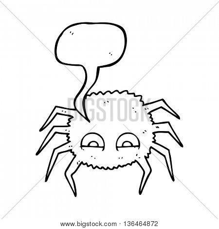 freehand drawn speech bubble cartoon spider
