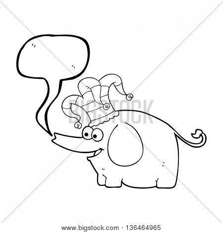 freehand drawn speech bubble cartoon elephant wearing circus hat