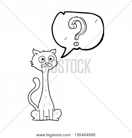 freehand drawn speech bubble cartoon curious cat