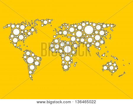 World map mosaic of white dots with black outline in various sizes on yellow background. Vector illustration. Modern style world map background theme.