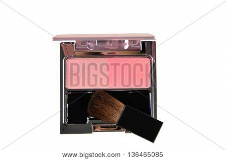 Blush brush for cheek and pink blush isolated on white background