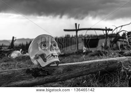 skull on the bench against the backdrop of the mountains. bw