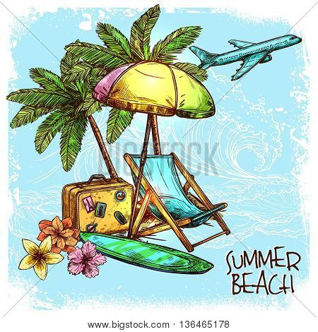 Summer beach concept with sketch palm sunbed and sunshade vector illustration