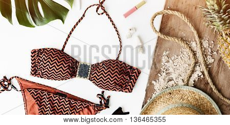 Bikini Hat Pineapple Lipstick Beach Summer Concept
