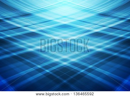 Blue wavy vector lines abstract background. Smooth bright waves brochure design. Web template