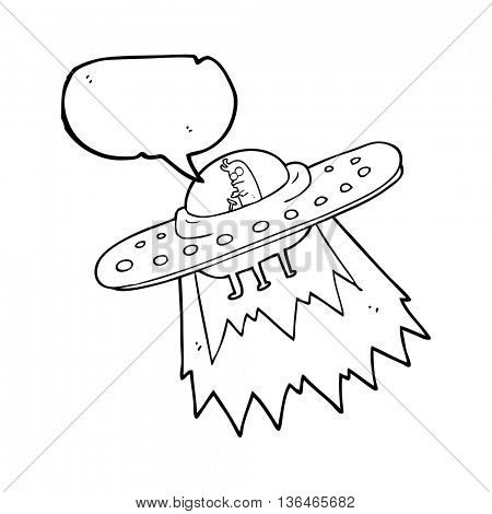 freehand drawn speech bubble cartoon ufo