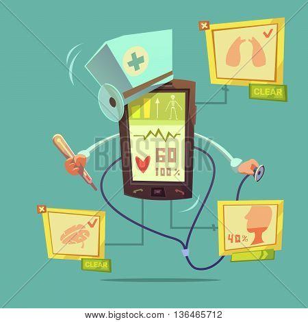 Mobile online health diagnostic concept with healthcare symbols on green background vector illustration
