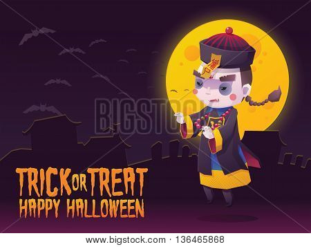 Vector Illustration of Chinese Hopping Vampire Ghost for Halloween Trick or Treat Greeting Card