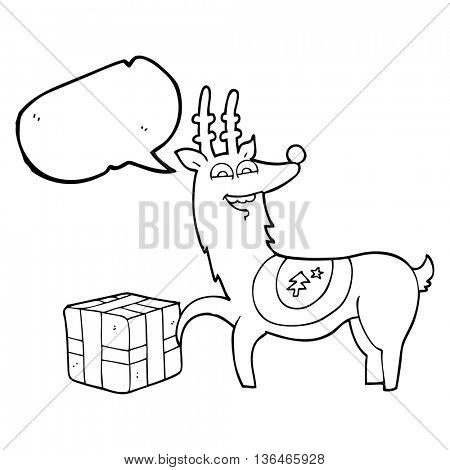 freehand drawn speech bubble cartoon christmas reindeer with present