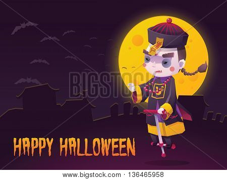 Vector Illustration of Chinese Hopping Vampire Ghost with Jumping Stick for Halloween Trick or Treat Greeting Card